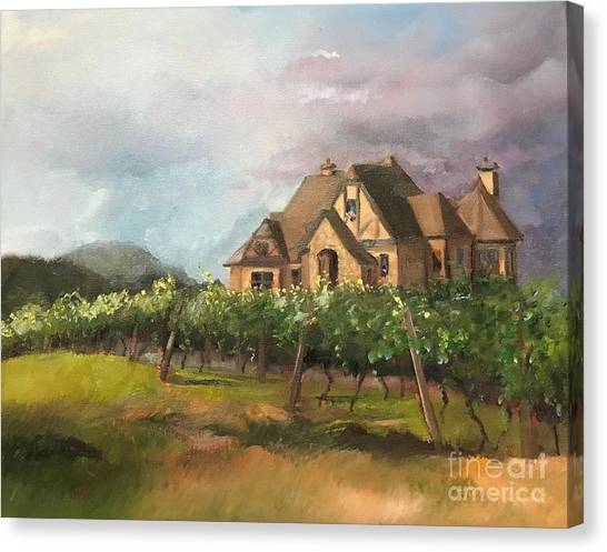 Canvas Print featuring the painting Dreams Come True - Chateau Meichtry Vineyard - Plein Air by Jan Dappen