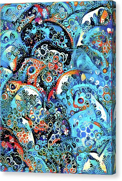 Design Canvas Print - Dreams In Blue Ornamental Abstract Woman by Georgiana Romanovna