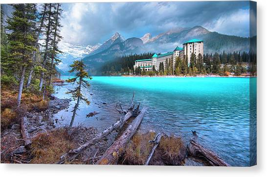 Jasper Johns Canvas Print - Dreamy Chateau Lake Louise by John Poon