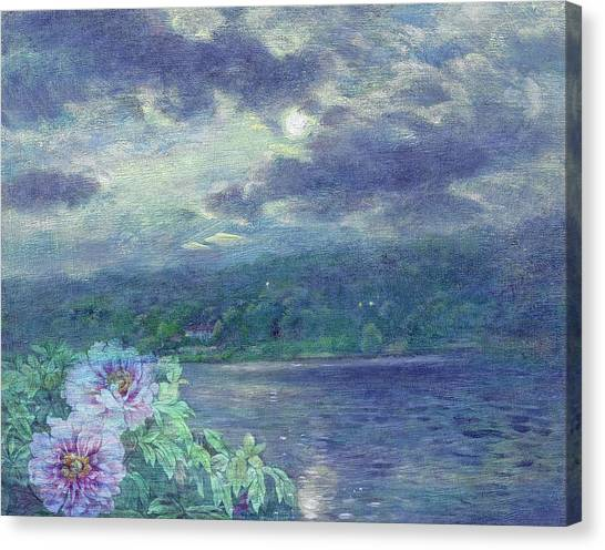 Canvas Print featuring the painting Dreamy Moon Over Peony by Judith Cheng