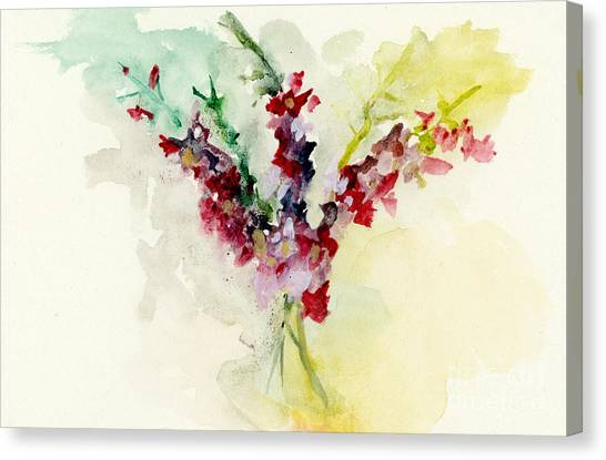 Canvas Print featuring the painting Dreamy Orchid Bouquet by Lauren Heller