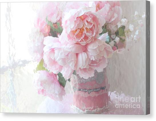 Impressionistic Canvas Print - Dreamy Shabby Chic Romantic Pastel Pink Peonies Impressionistic Art - Paris French Peonies Photo by Kathy Fornal