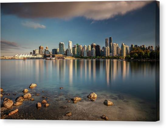 Canvas Print featuring the photograph Dreamy Vancouver Cityscape by Pierre Leclerc Photography