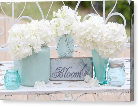 White Hydrangeas Cottage Decor- Shabby Chic White Hydrangeas In Aqua Blue Teal Mason Ball Jars Canvas Print