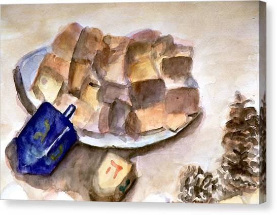 Cornbread Canvas Print - Dreidles Corn Cakes And Pine Cones by Rachel Rose