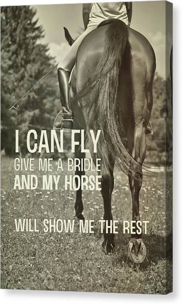 Dressage In The Daisies Quote Canvas Print