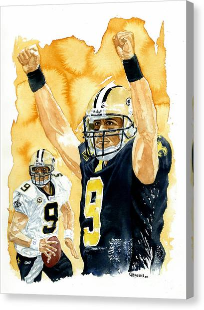 Drew Brees Canvas Print - Drew Brees - Champion by George  Brooks