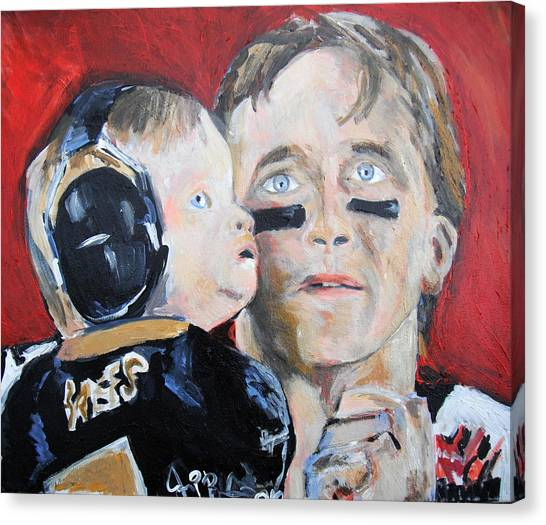 Drew Brees Canvas Print - Drew Brees And Son  by Jon Baldwin  Art