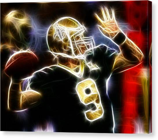 Quarterbacks Canvas Print - Drew Brees New Orleans Saints by Paul Van Scott
