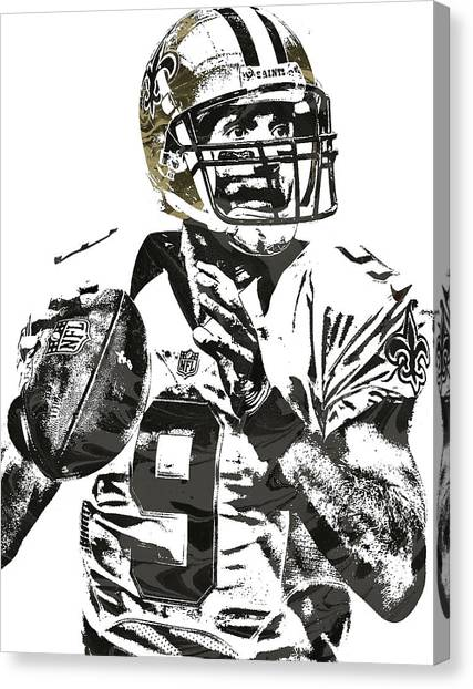 Drew Brees Canvas Print - Drew Brees New Orleans Saints Pixel Art 1 by Joe Hamilton