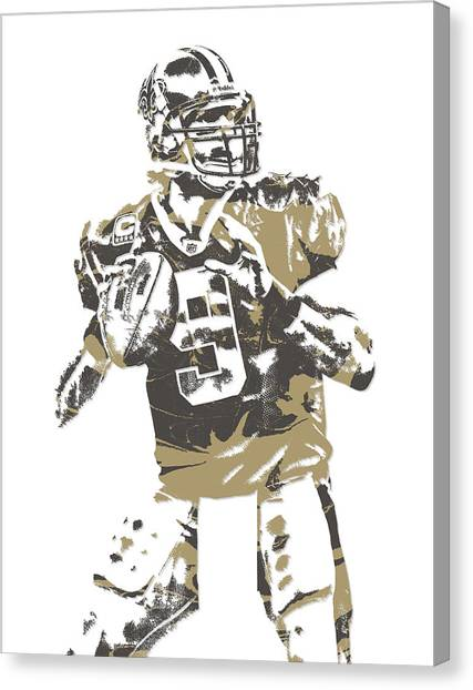 Drew Brees Canvas Print - Drew Brees New Orleans Saints Pixel Art 6 by Joe Hamilton