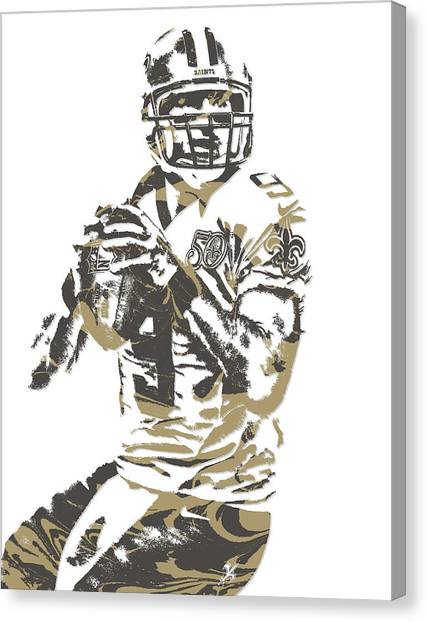 Drew Brees Canvas Print - Drew Brees New Orleans Saints Pixel Art 7 by Joe Hamilton