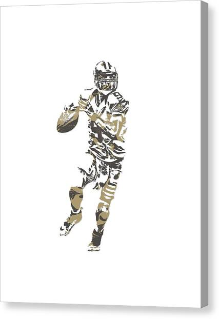Drew Brees Canvas Print - Drew Brees New Orleans Saints Pixel Art T Shirt 1 by Joe Hamilton