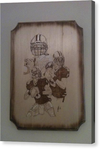 Drew Brees Canvas Print - Drew Brees Pyrography by John Pitre