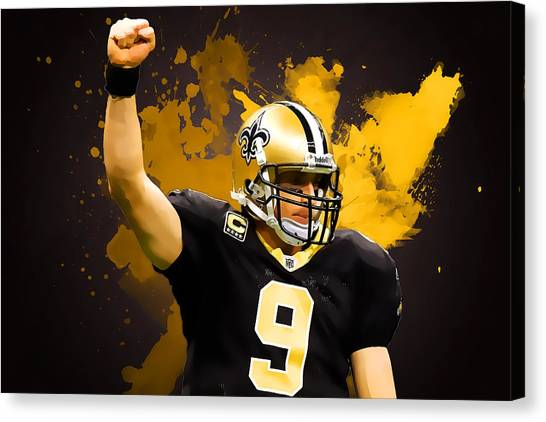 Drew Brees Canvas Print - Drew Brees by Semih Yurdabak