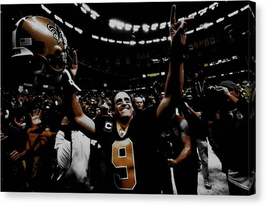 Drew Brees Canvas Print - Drew Brees Super Bowl Victory by Brian Reaves