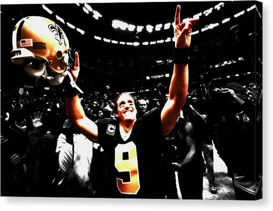 Drew Brees Canvas Print - Drew Brees Superbowl Win by Brian Reaves