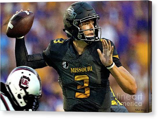 John Elway Canvas Print - Drew Lock, Gun Slinger, University Of Missouri, Number 3, Sec,  by Thomas Pollart
