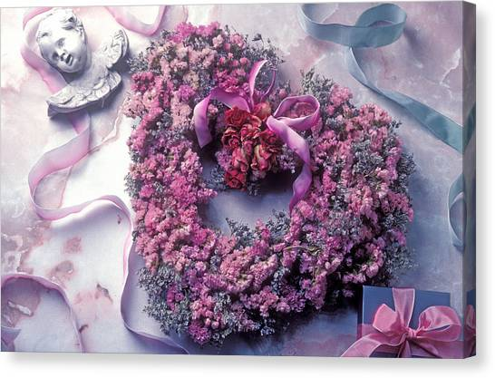 Wreath Canvas Print - Dried Flower Heart Wreath by Garry Gay