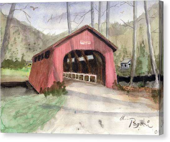 Drift Creek Covered Bridge Watercolor Canvas Print