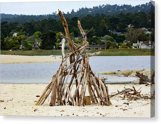 Driftwood Tipi With A View Canvas Print