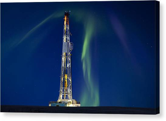 Pollution Canvas Print - Drilling Rig Saskatchewan by Mark Duffy