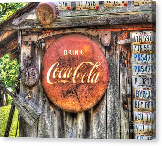 Mountain Dew Canvas Print - Drink Coke Sign On Country Shed by Greg Hager