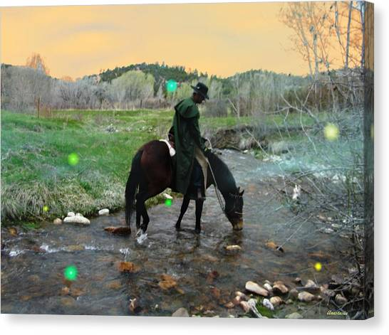 Drinking In The River Horseman Lit By Fireflies Canvas Print