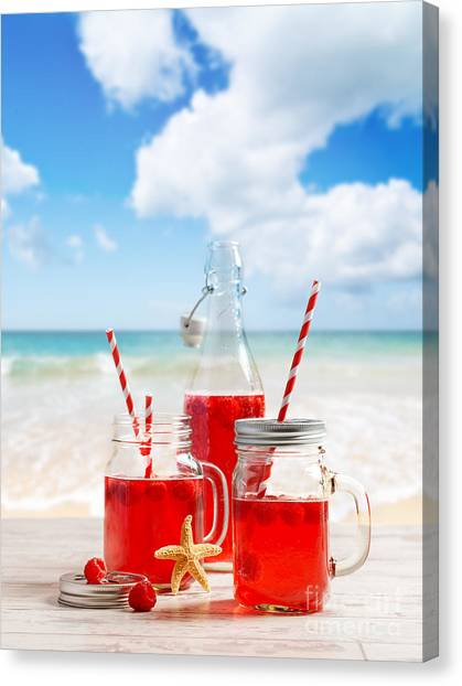 Raspberries Canvas Print - Drinks At The Beach by Amanda Elwell