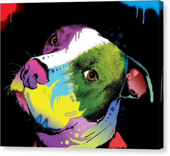 Pit Bull Canvas Print - Dripful Pitbull by Dean Russo Art