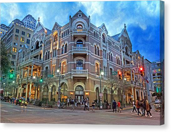 Haunted House Canvas Print - Driskill Hotel Light The Night by Betsy Knapp