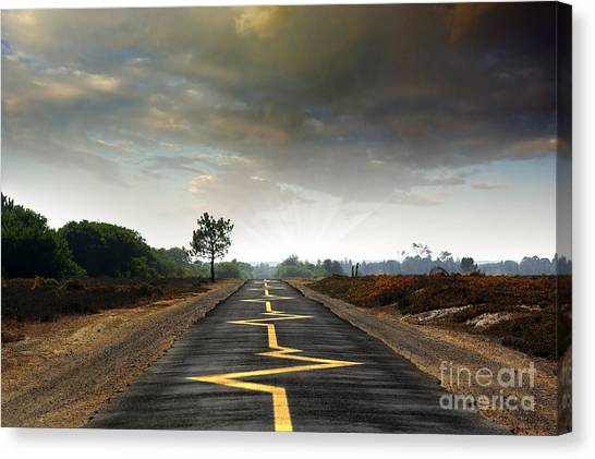 Caution Canvas Print - Drive Safely by Carlos Caetano