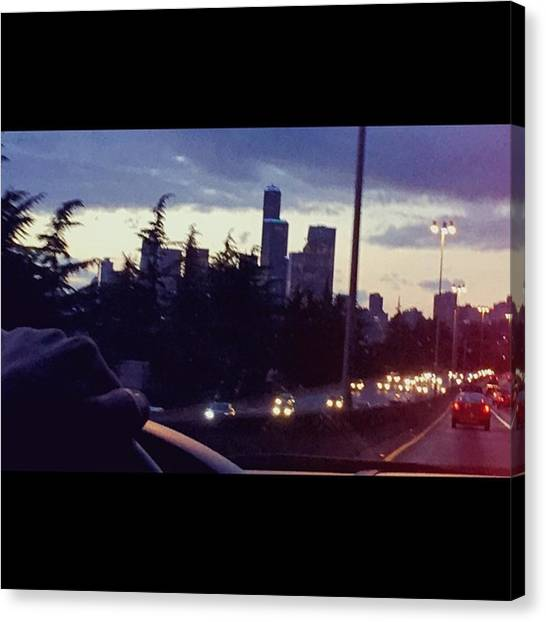 Skylines Canvas Print - Drive Thru Seattle #enlight #highway by Joan McCool