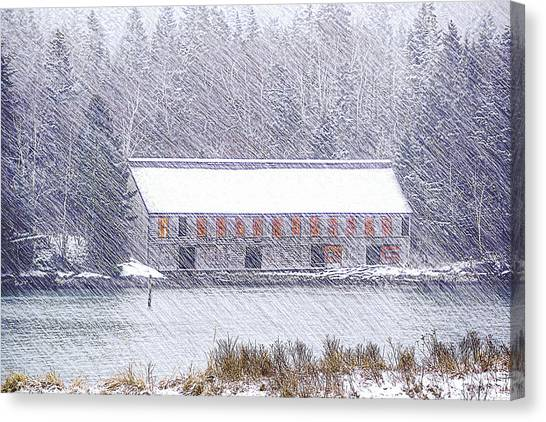 Smokehouses Canvas Print - Driving Snow At The Old Smokehouse by Marty Saccone