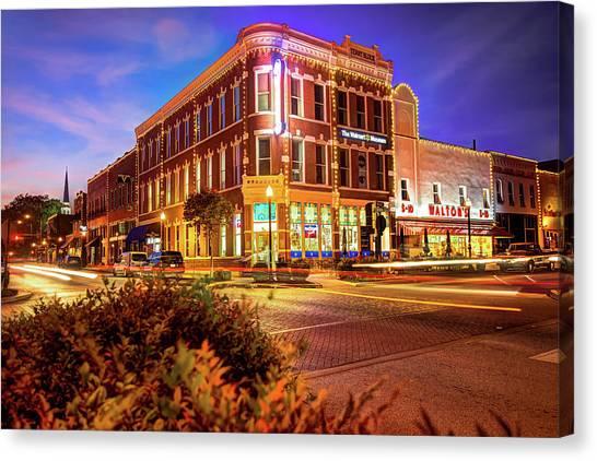 Driving Through Downtown - Bentonville Arkansas Town Square Canvas Print