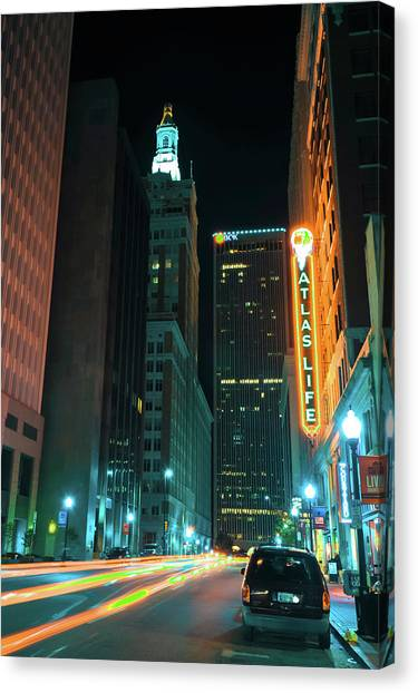 Canvas Print featuring the photograph Driving Through Downtown Tulsa  by Gregory Ballos