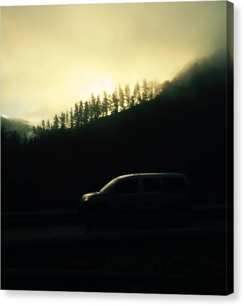 Contemporary Art Canvas Print - Driving Through The Fog by Contemporary Art