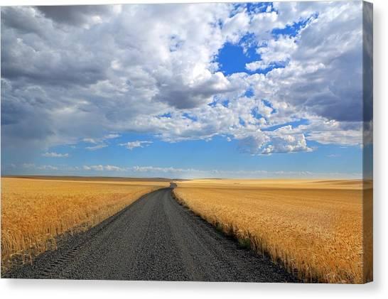 Driving Through The Wheat Fields Canvas Print