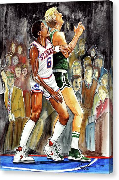 Larry Bird Canvas Print - Dr.j Vs. Larry Bird by Dave Olsen