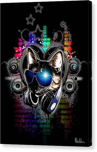 Headphones Canvas Print - Drop The Bass by Nicklas Gustafsson