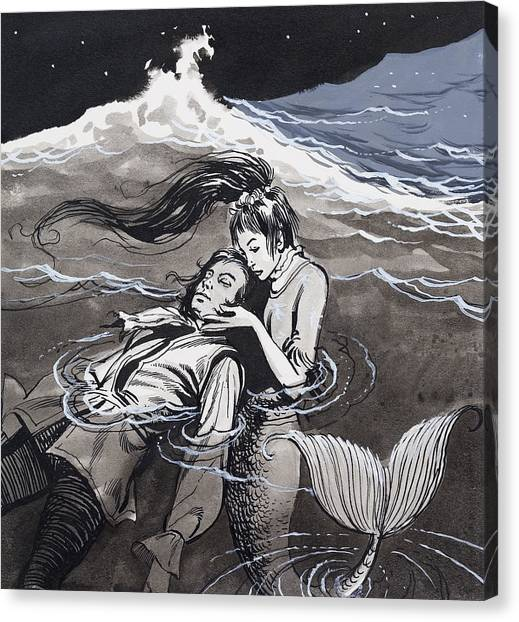 Mermaids Canvas Print - Drowned Man Being Assisted By A Mermaid by English School