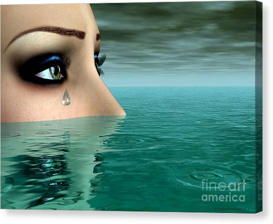 Drowning In A Sea Of Tears Canvas Print by Sandra Bauser Digital Art
