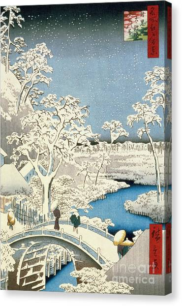 Percussion Instruments Canvas Print - Drum Bridge And Setting Sun Hill At Meguro by Hiroshige