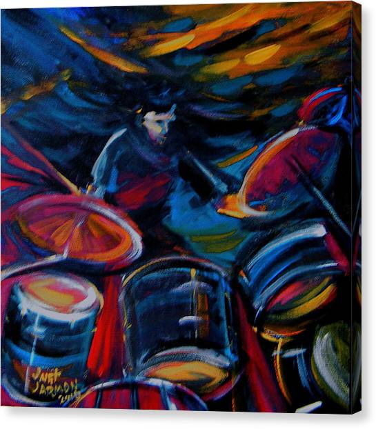 Canvas Print featuring the painting Drummer Craze by Jeanette Jarmon