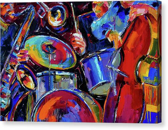 Saxophone Canvas Print - Drums And Friends by Debra Hurd