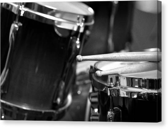Snares Canvas Print - Drumsticks And Drums In Black And White by Rebecca Brittain