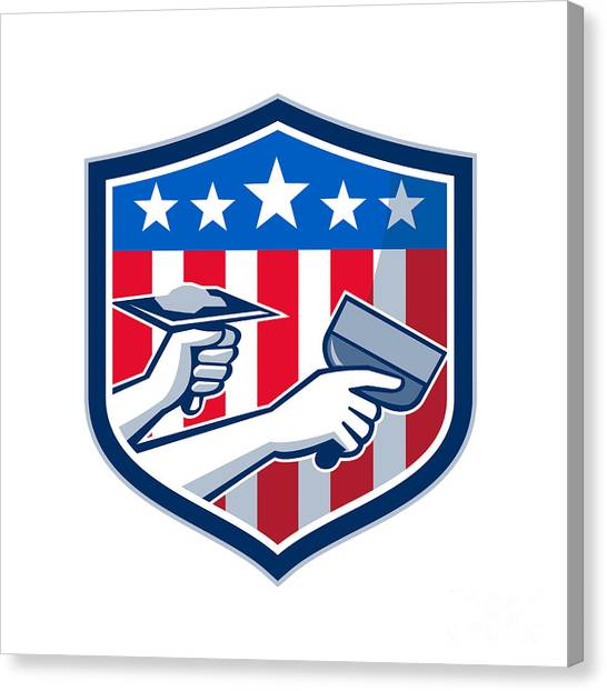 Drywall Canvas Print - Drywall Repair Service American Flag Shield Retro by Aloysius Patrimonio