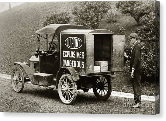 Du Pont Co. Explosives Truck Pennsylvania Coal Fields 1916 Canvas Print