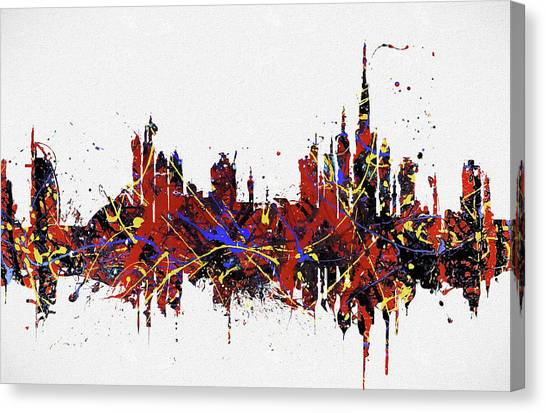 Canvas Print featuring the painting Dubai Colorful Skyline by Dan Sproul