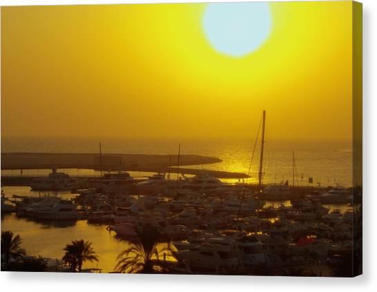 Dubai Marina Jumeirah Sunset Canvas Print by Iain MacVinish